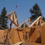 Installing the trusses on a house in central oregon
